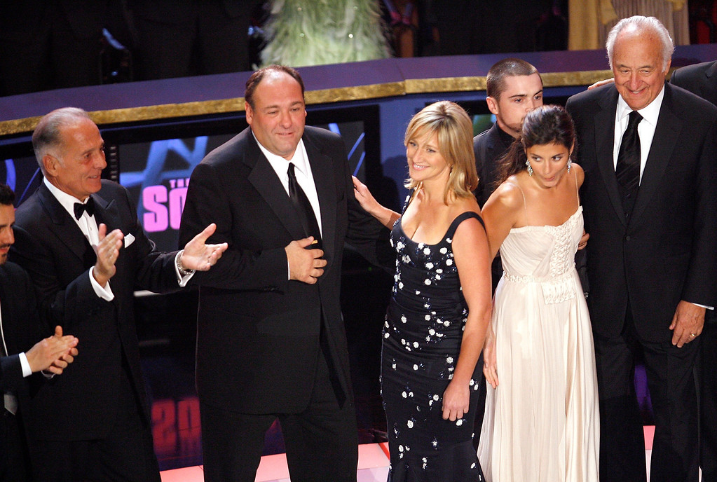 . The cast of the Sopranos accepts the Outstanding Directing in a Drama Series award onstage during the 59th Annual Primetime Emmy Awards at the Shrine Auditorium on September 16, 2007 in Los Angeles, California.  (Photo by Vince Bucci/Getty Images)
