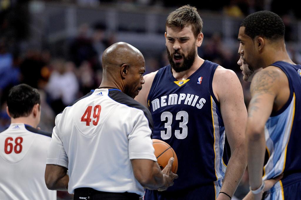 . Memphis Grizzlies center Marc Gasol (33) argues a foul call against him during the first quarter. (Photo by AAron Ontiveroz/The Denver Post)