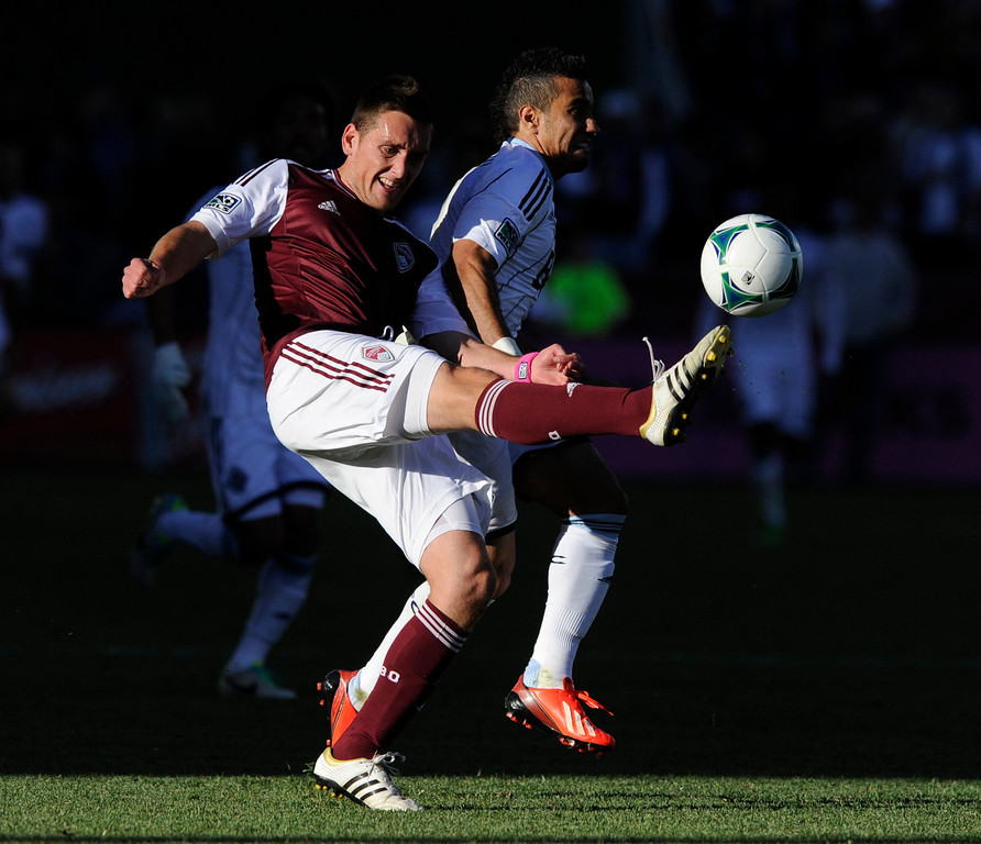 . COMMERCE CITY, CO. - OCTOBER 19: Colorado defender Shane O\'Neill cleared the ball in the first half. The Colorado Rapids hosted the Vancouver Whitecaps at Dick\'s Sporting Goods Park Saturday, October 19, 2013. Photo By Karl Gehring/The Denver Post