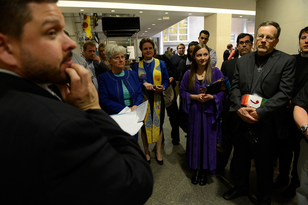 . DENVER, CO. - APRIL 30: Clergy and officials are given instruction before performing ceremonies at the Webb Building in  Denver CO, April 30, 2013.  The Clerk and Recorder\'s Office opened for business from midnight to 3 a.m. to issue civil union licenses to couples on May 01, 2013 when the Civil Union Act became law.  (Photo By Craig F. Walker/The Denver Post)