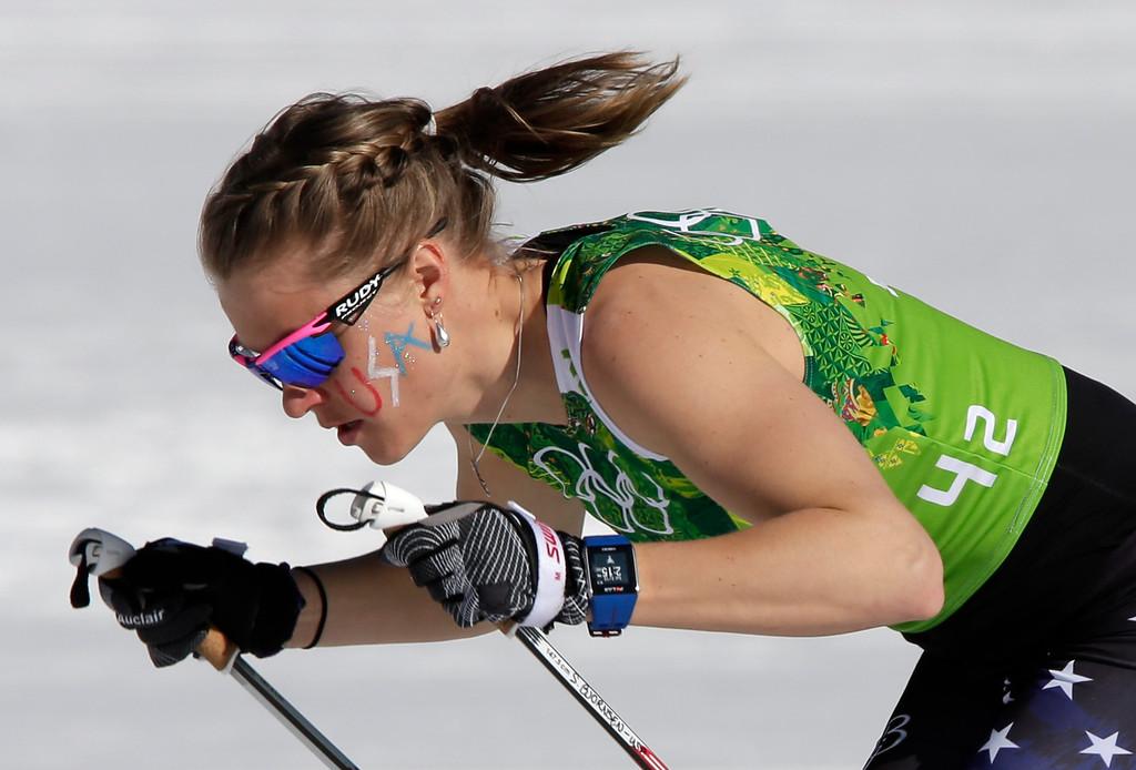 . United States\' Sadie Bjornsen skis during the women\'s 4x5K cross-country relay at the 2014 Winter Olympics, Saturday, Feb. 15, 2014, in Krasnaya Polyana, Russia. (AP Photo/Matthias Schrader)