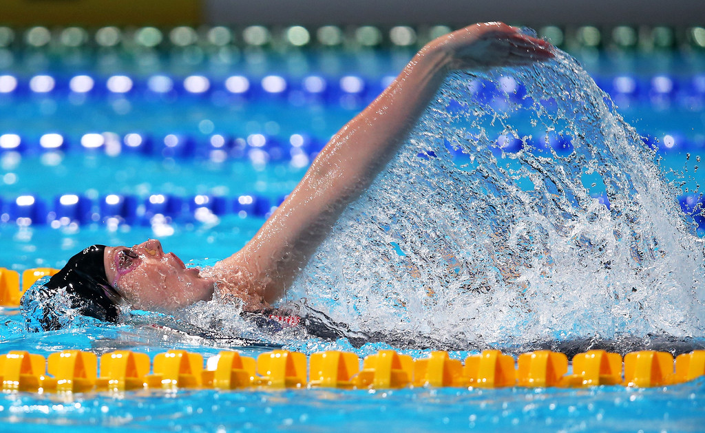 . BARCELONA, SPAIN - AUGUST 03:  Missy Franklin of the USA competes during the Swimming Women\'s Backstroke 200m Final on day fifteen of the 15th FINA World Championships at Palau Sant Jordi on August 3, 2013 in Barcelona, Spain.  (Photo by Clive Rose/Getty Images)
