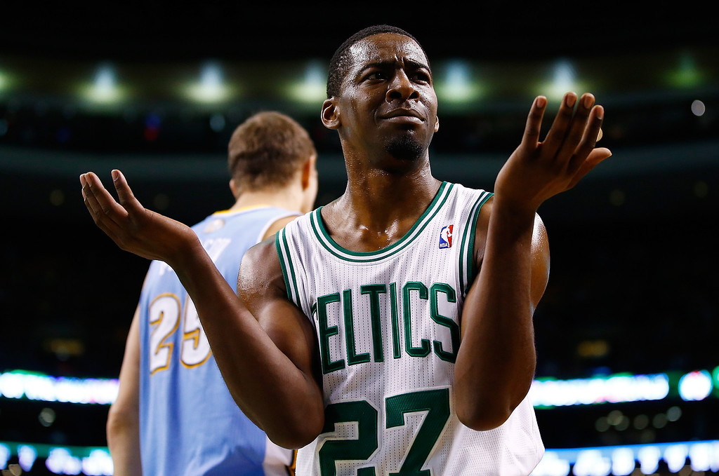 . BOSTON, MA - DECEMBER 06: Jordan Crawford #27 of the Boston Celtics reacts following a call in the second half against the Denver Nuggets during the game at TD Garden on December 6, 2013 in Boston, Massachusetts.  (Photo by Jared Wickerham/Getty Images)