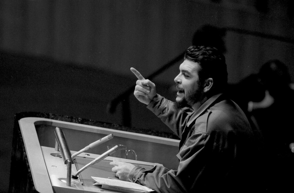 """. Cuban Industry Minister Ernesto \""""Che\"""" Guevara speaks before the United Nations General Assembly in New York, Dec. 11, 1964.  Guevara charged the U.S. with violating Cuba\'s territory, and attacked U.S. actions in the Congo, Vietnam, Cambodia, and Laos. (AP Photo)"""