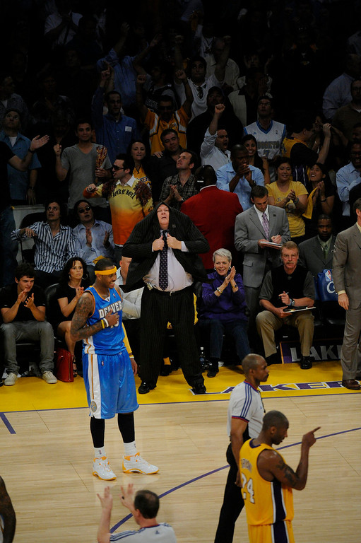 . Denver Nuggets coach George  Karl reacts in the fourth quarter of play against the Los Angeles Lakers in Game 5 of the Western Conference Finals best of seven series Thursday May 27, 2009 at  the Staples Center.   Joe Amon, The Denver Post