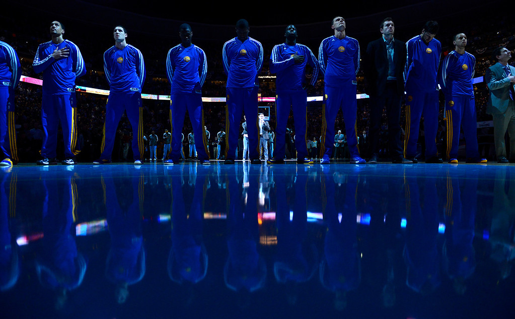 . DENVER, CO. - APRIL 23: The Golden State Warriors line up for the NAtional Anthem before the game. The Denver Nuggets took on the Golden State Warriors in Game 2 of the Western Conference First Round Series at the Pepsi Center in Denver, Colo. on April 23, 2013. (Photo by AAron Ontiveroz/The Denver Post)