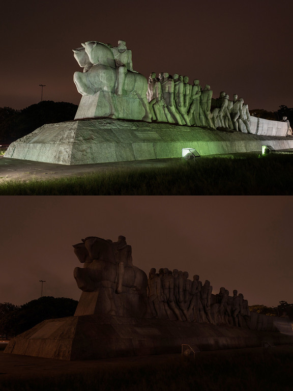 ". This combination picture shows the monument ""As Bandeiras\"" before (top) and after lights were turned off during Earth Hour in Sao Paulo, Brazil, on March 23, 2013. Millions of people were expected to switch off their lights for Earth Hour in a global effort to raise awareness about climate change. Since it began in Sydney in 2007, Earth Hour has grown to become what environmental group WWF says is the world\'s largest demonstration of support for action on carbon pollution. YASUYOSHI CHIBA/AFP/Getty Images"