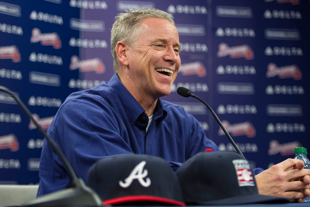 . Former Atlanta Braves player Tom Glavine speaks with members of the media during a news conference at Turner Field after being elected to the baseball\'s Hall of Fame on Wednesday, Jan. 8, 2014, in Atlanta. Also elected were former Braves teammate Greg Maddux and Frank Thomas, who will all join managers Bobby Cox, Joe Torre, and Tony La Russa in the next induction. (AP Photo/John Amis)