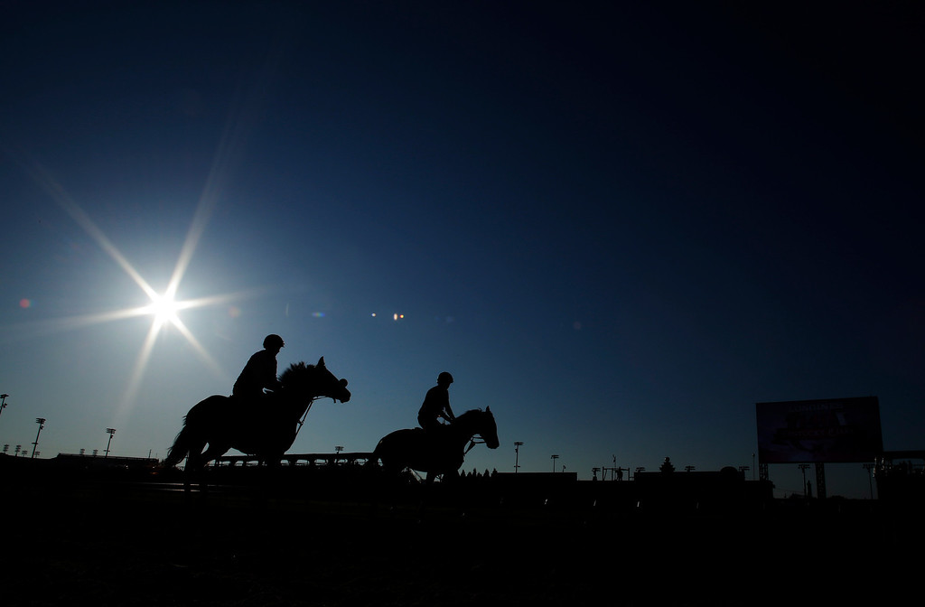 . Horse make their way around the track during a morning workout at Churchill Downs Friday, May 2, 2014, in Louisville, Ky. (AP Photo/Matt Slocum)