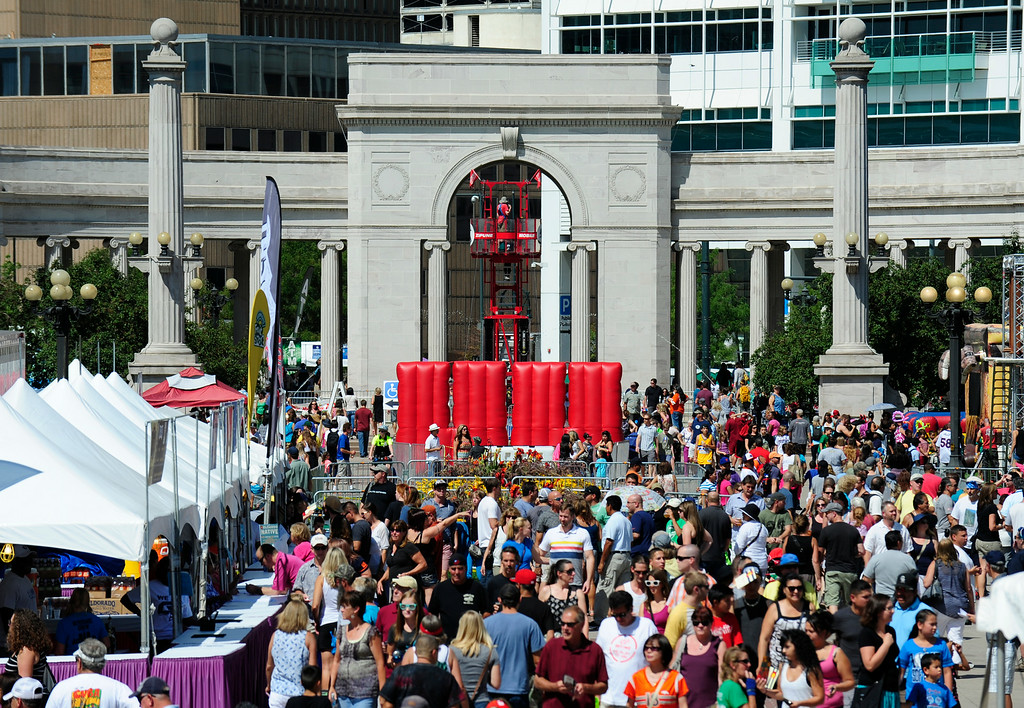 . Civic Center park is filled with attendees of the A Taste of Colorado festival in Denver, Colorado, Saturday, August 30, 2014. (Photo By Brenden Neville / Special to The Denver Post)