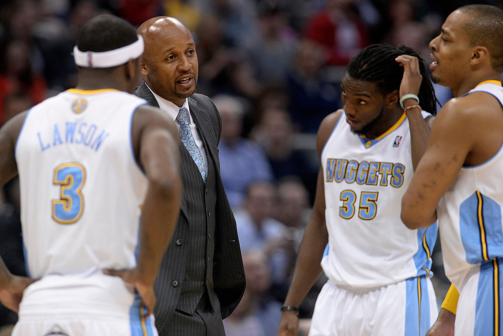 . Denver Nuggets head coach Brian Shaw speaks with his squat during the third quarter of action. (Photo by AAron Ontiveroz/The Denver Post)