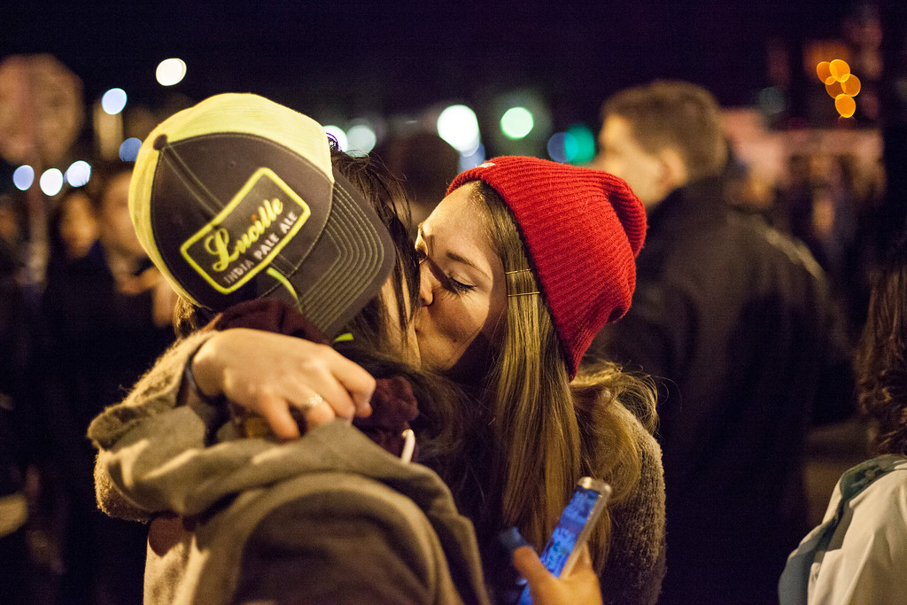 . Seattle Seahawks fans share a kiss after watching their team win the Super Bowl on February 2, 2014 in Seattle, Washington. The Seahawks defeated the Denver Broncos 43-8 in Super Bowl XLVIII.  (Photo by David Ryder/Getty Images)