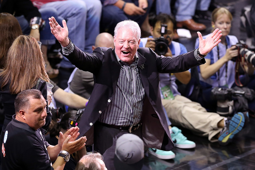 . CEO Peter Holt of the San Antonio Spurs cheers on the team in the second half while taking on the Miami Heat during Game Three of the 2013 NBA Finals at the AT&T Center on June 11, 2013 in San Antonio, Texas.   (Photo by Christian Petersen/Getty Images)