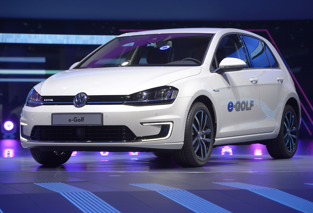 . German carmaker Volkswagen (VW) new electric car  e-golf is displayed during a press conference on September 10, 2013 at the media day of the 65th edition of the IAA (Internationale Automobil Ausstellung) auto fair in Frankfurt am Main, western Germany. The show runs for the public from September 12 to 22.  AFP PHOTO / JOHANNES EISELE/AFP/Getty Images