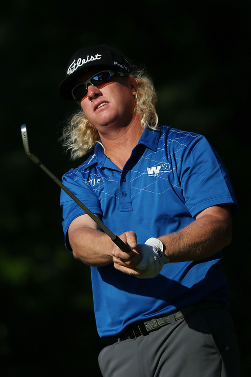 . Charley Hoffman of the United States watches his second shot on the eigth hole during the continuation of Round Two of the 113th U.S. Open at Merion Golf Club on June 15, 2013 in Ardmore, Pennsylvania.  (Photo by Andrew Redington/Getty Images)