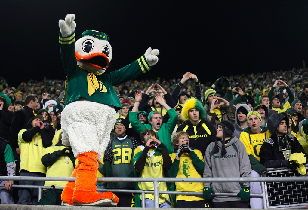 . Oregon Ducks mascot Puddles cheers after his team\'s 33-37 victory over the Oregon State Beavers after the game at Autzen Stadium on December 3, 2009 in Eugene, Oregon.  (Photo by Tom Hauck/Getty Images)