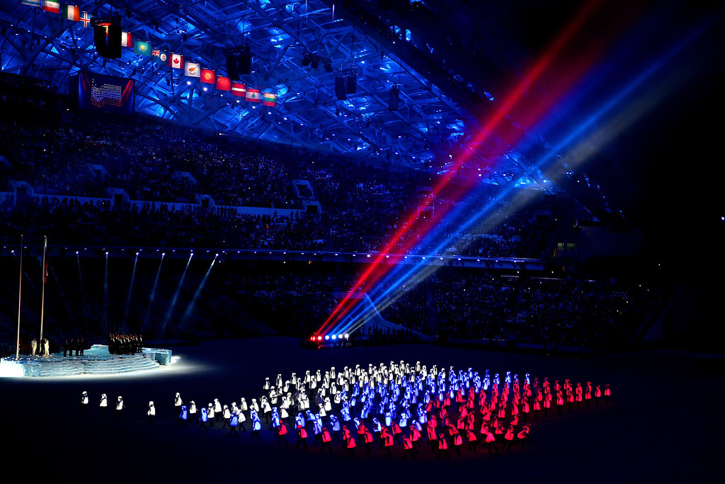 . Athlete marshals light up to form a Russian flag during the Opening Ceremony of the Sochi 2014 Winter Olympics at Fisht Olympic Stadium on February 7, 2014 in Sochi, Russia.  (Photo by Clive Mason/Getty Images)