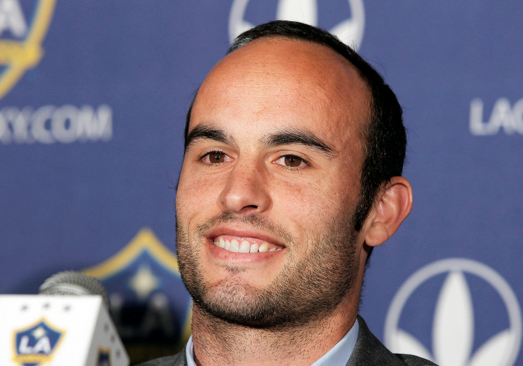 . This Aug. 28, 2013, file photo, shows Los Angeles Galaxy forward Landon Donovan speaking at news conference in Carson, Calif. Donovan says he will retire from professional soccer at the end of the MLS season. The LA Galaxy forward is widely considered the best soccer player in American history. (AP Photo/Nick Ut, File)