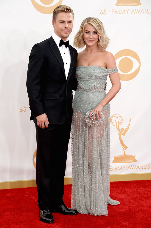 . TV personality Derek Hough and actress Julianne Hough arrive at the 65th Annual Primetime Emmy Awards held at Nokia Theatre L.A. Live on September 22, 2013 in Los Angeles, California.  (Photo by Frazer Harrison/Getty Images)