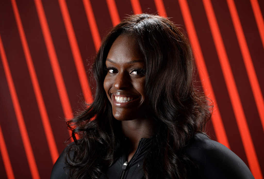 . Bobsledder Aja Evans poses for a portrait during the USOC Media Summit ahead of the Sochi 2014 Winter Olympics on September 29, 2013 in Park City, Utah.  (Photo by Harry How/Getty Images)
