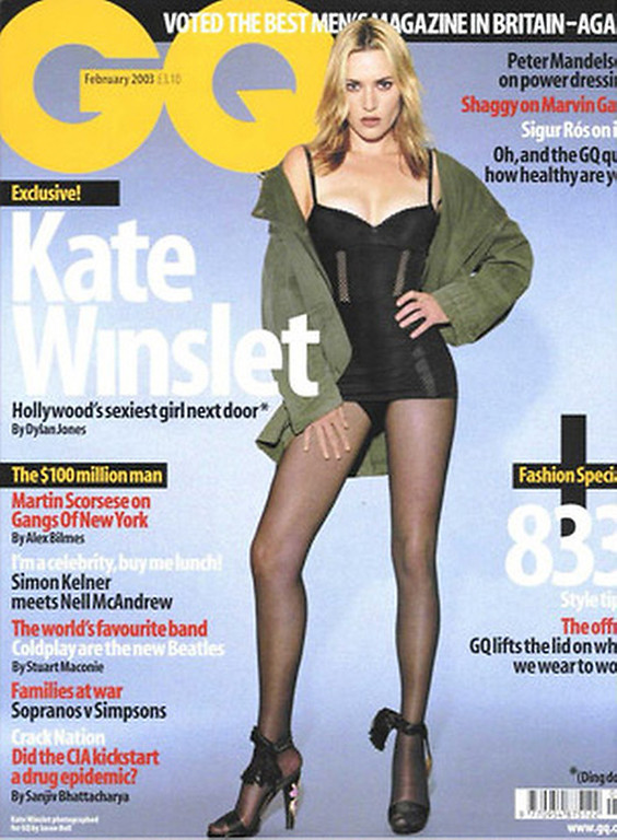 ". January 2003:  This cover of GQ magazine featured a digitally slimmed actress Kate Winslet. Winslet said that the retouching was ""excessive.\"" \""I don\'t look like that and more importantly I don\'t desire to look like that. I can tell you that they\'ve reduced the size of my legs by about a third\"", said Winslet.   SOURCE: http://www.cs.dartmouth.edu/farid/research/digitaltampering/"