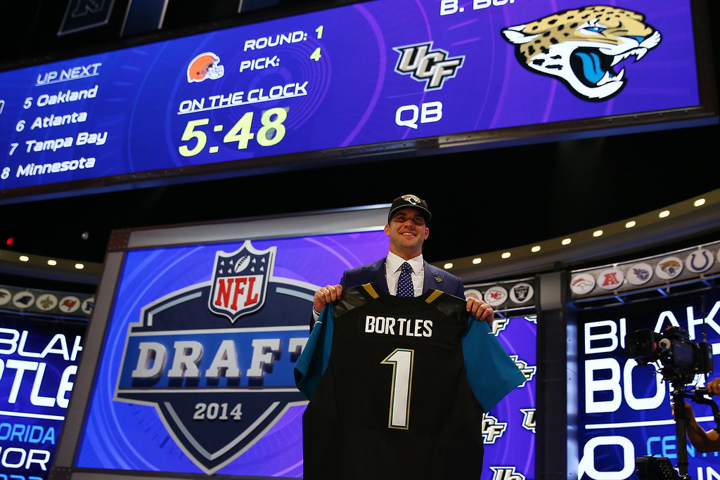 . Blake Bortles of the UCF Knights poses with a jersey after he was picked #3 overall by the Jacksonville Jaguars during the first round of the 2014 NFL Draft at Radio City Music Hall on May 8, 2014 in New York City.  (Photo by Elsa/Getty Images)
