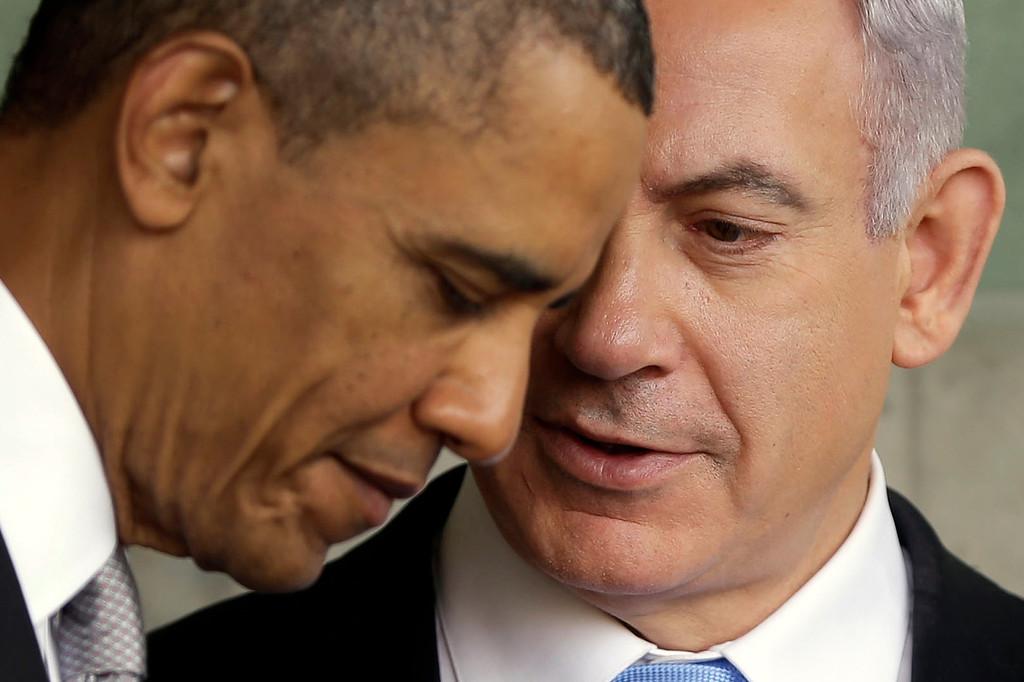 . President Barack Obama, left, listens to Israeli Prime Minister Benjamin Netanyahu during their visit to the Children\'s Memorial at the Yad Vashem Holocaust memorial in Jerusalem, Israel, Friday, March 22, 2013. (AP Photo/Pablo Martinez Monsivais)
