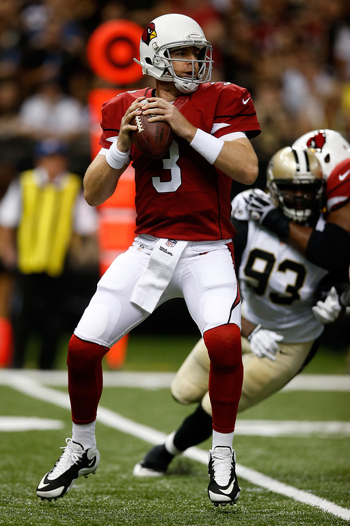 . Carson Palmer #3 of the Arizona Cardinals throws a pass against the New Orleans Saints  at the Mercedes-Benz Superdome on September 22, 2013 in New Orleans, Louisiana.  (Photo by Chris Graythen/Getty Images)