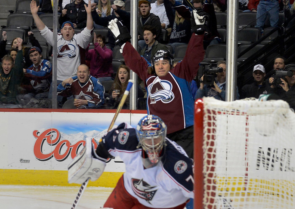 . DENVER, CO. - JANUARY 24: Colorado Avalanche right wing P.A. Parenteau (15) celebrates his first period goal on Columbus Blue Jackets goalie Sergei Bobrovsky (72) during the first period January 24, 2013 at Pepsi Center. The Colorado Avalanche take on the Columbus Blue Jackets . (Photo By John Leyba / The Denver Post)