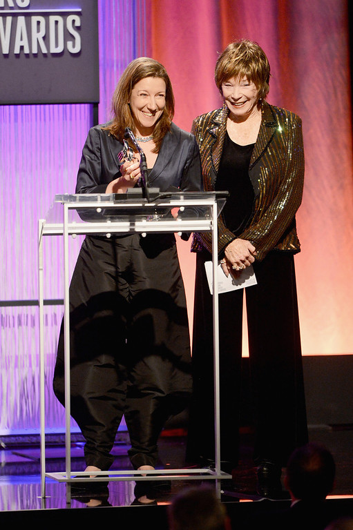 . Costume designer Jacqueline Durran (L) accepts award for Excellence in a Period film for \'Anna Karenina\' from presenter Shirley MacLaine onstage during the 15th Annual Costume Designers Guild Awards with presenting sponsor Lacoste at The Beverly Hilton Hotel on February 19, 2013 in Beverly Hills, California.  (Photo by Jason Merritt/Getty Images for CDG)