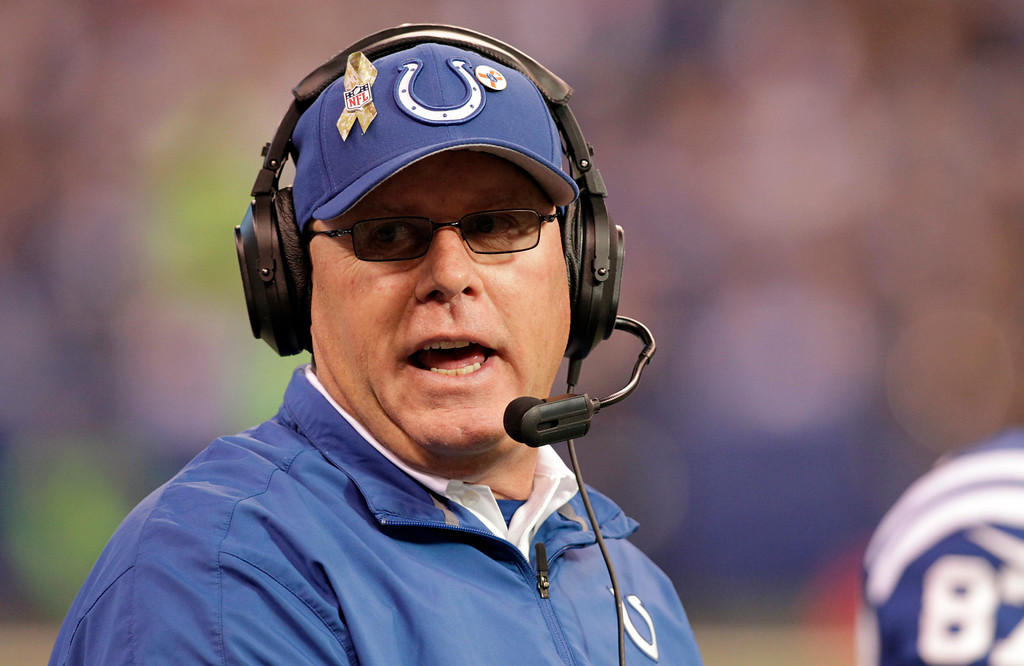 . FILE - In this Nov. 25, 2012, file photo, Indianapolis Colts interim head coach Bruce Arians questions a call during the first half of an NFL football game against the Buffalo Bills in Indianapolis. Arians has become the first interim coach to win the top NFL award from The Associated Press, taking the 2012 Coach of the Year honors for his work with the Colts. (AP Photo/AJ Mast, File)