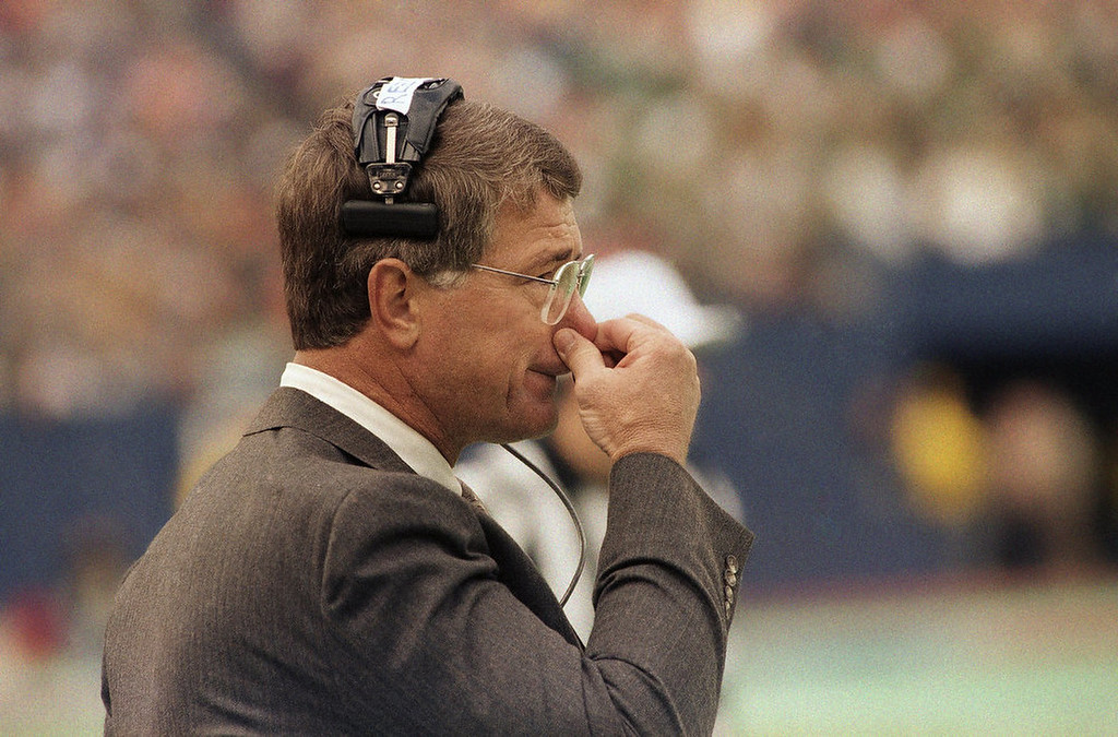 . Denver Broncos head coach Dan Reeves looks worried as he watches the game from the sidelines during the first half at Giants Stadium in East Rutherford, New Jersey, Sunday, Nov. 24, 1986. The New York Giants beat the Broncos 19-16 with a field goal in the last ten seconds. (AP Photo/Bill Kostroun)
