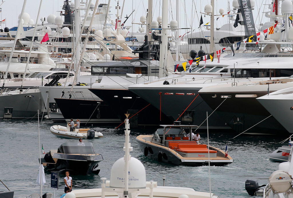 . Yachts are showing at the 24th edition of the Monaco Yacht Show, Wednesday, Sept. 25, 2013, in Monaco. (AP Photo/Lionel Cironneau)