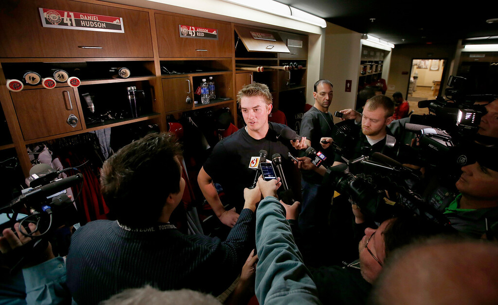 . Arizona Diamondbacks\' Addison Reed talks with reporters in the clubhouse as pitchers and catchers report to MLB spring training baseball facilities, Thursday, Feb. 6, 2014, in Scottsdale, Ariz. (AP Photo/Ross D. Franklin)