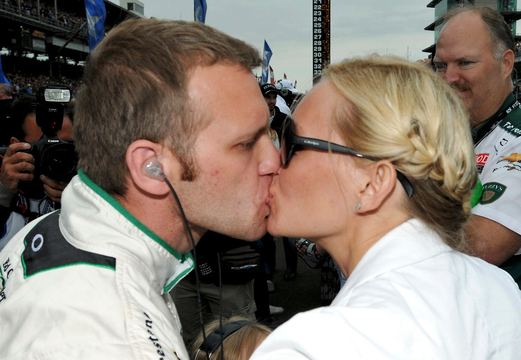 . Ed Carpenter Racing driver Ed Carpenter of the U.S. kisses his wife Heather before the 97th running of the Indianapolis 500 at the Indianapolis Motor Speedway in Indianapolis, Indiana, May 26, 2013. REUTERS/Jeff Roberts