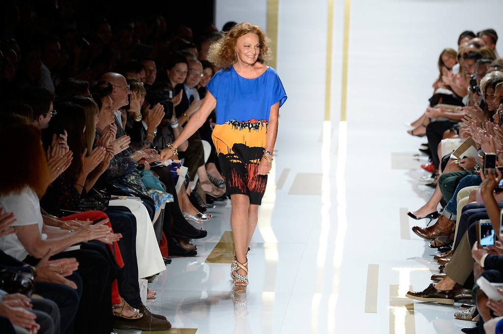 . Designer Diane Von Furstenberg walks the runway at the Diane Von Furstenberg fashion show during Mercedes-Benz Fashion Week Spring 2014 at The Theatre at Lincoln Center on September 8, 2013 in New York City.  (Photo by Frazer Harrison/Getty Images for Mercedes-Benz Fashion Week Spring 2014)