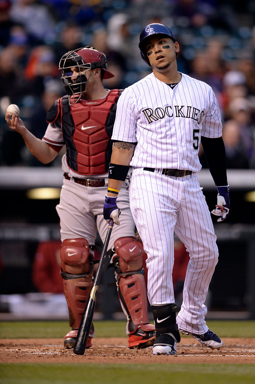 . DENVER, CO - APRIL 5:  Colorado slugger Carlos Gonzalez struck out in the first inning with a runner on second base. The Colorado Rockies hosted the Arizona Diamondbacks Saturday night, April 5, 2014 in Denver. (Photo by Karl Gehring/The Denver Post)