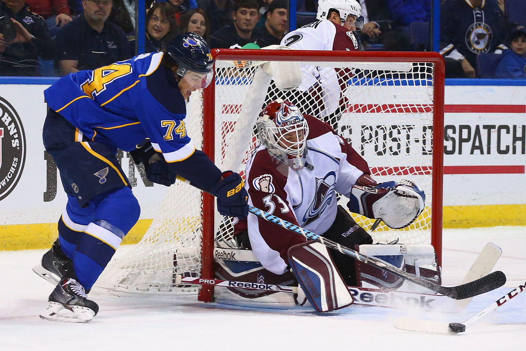 . ST. LOUIS, MO - NOVEMBER 14:  T.J. Oshie #74 of the St. Louis Blues has his shot against Jean-Sebastien Giguere #35 of the Colorado Avalanche blocked at the Scottrade Center on November 14, 2013 in St. Louis, Missouri.  (Photo by Dilip Vishwanat/Getty Images)