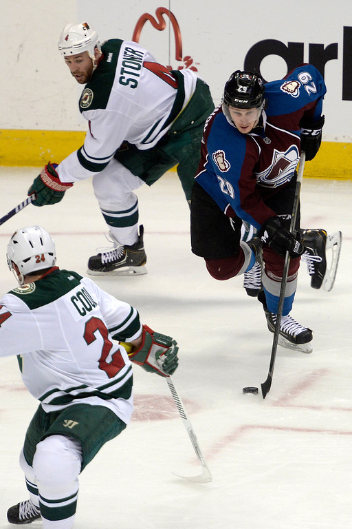 . Nathan MacKinnon (29) of the Colorado Avalanche controls the puck against the Minnesota Wild during the second period. (Photo by AAron Ontiveroz/The Denver Post)