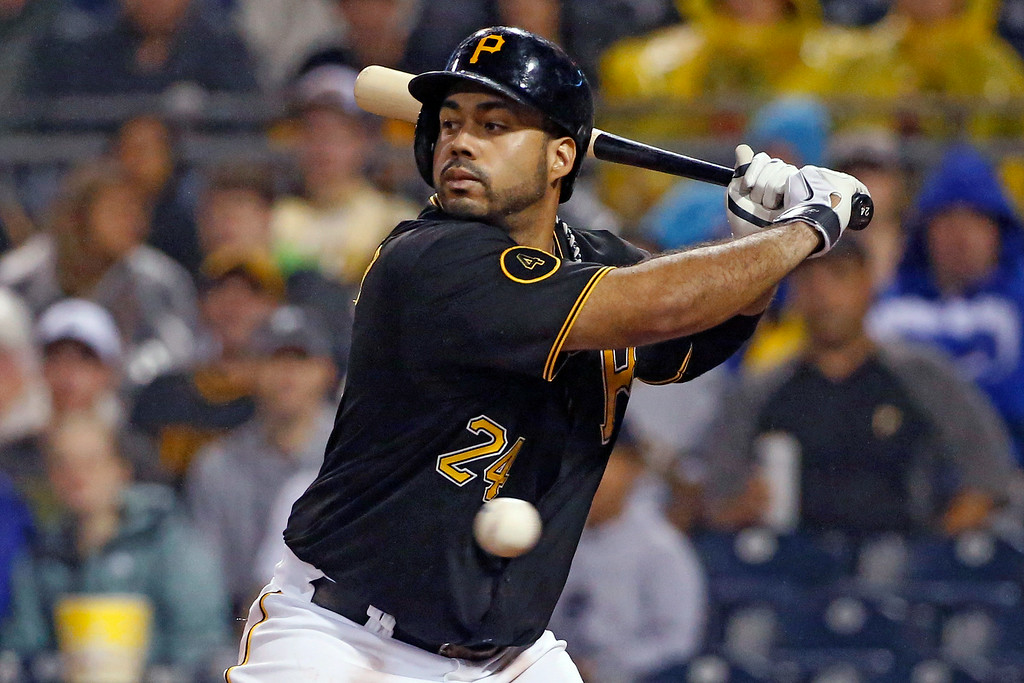 . Pittsburgh Pirates\' Pedro Alvarez (24) takes a called third strike from Colorado Rockies starting pitcher Brett Anderson during the seventh inning of a baseball game in Pittsburgh Saturday, July 19, 2014. (AP Photo/Gene J. Puskar)