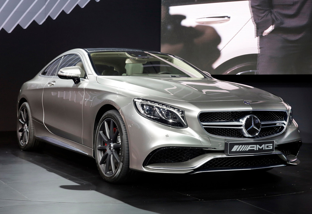 . The 2015 Mercedes Benz S63 AMG Coupe is introduced at the 2014 New York International Auto Show at the Javits Convention Center, Wednesday, April 16, 2014, in New York. (AP Photo/Richard Drew)