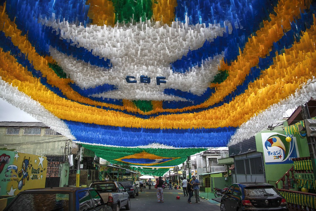 . View of Santa Isabel Street, in the southern zone of Manaus, one of the host cities of Fifa World Cup 2014, Amazonas state, Brazil, on June 11, 2014. The street is known for its 32-year-long tradition of World Cups decorations. AFP PHOTO/Raphael ALVES/AFP/Getty Images