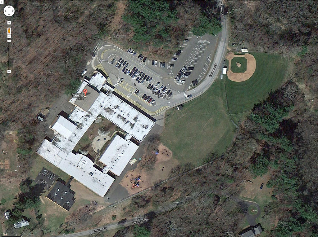. This satellite image provided by Google shows the Sandy Hook Elementary School in Newtown, Conn. A shooting at the school Friday, Dec. 14, 2012, left the gunman dead and at least one teacher wounded. (AP Photo/Google)