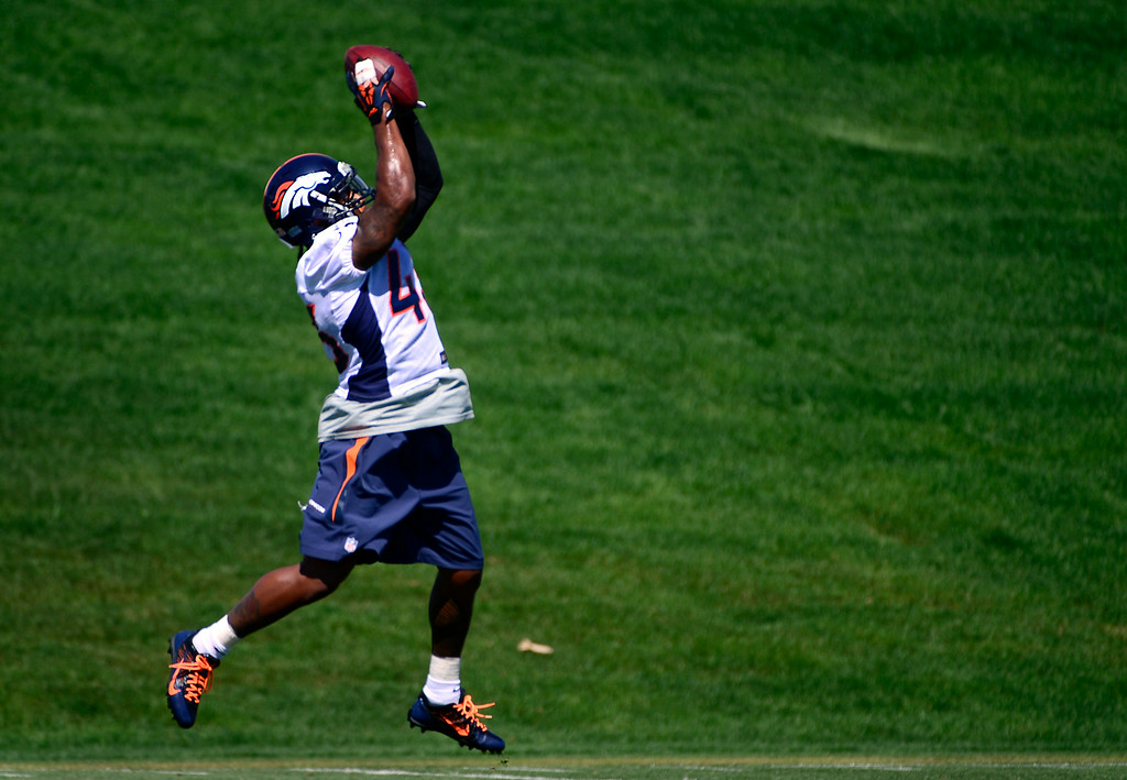 . CENTENNIAL, CO - AUGUST 19: Safety T.J. Ward (43) runs through drills during practice on Tuesday, Aug. 19, 2014. The Denver Broncos prepare at Dove Valley on Tuesday, Aug. 19, 2014 in Centennial for their upcoming game against the Houston Texans on Saturday, Aug. 23, 2014. (Photo by Kathryn Scott Osler/The Denver Post)