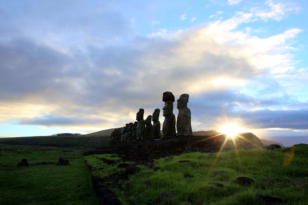 . View of Moais -- stone statues of the Rapa Nui culture --  on the Ahu Tongariki site on Easter Island, 3700 km off the Chilean coast in the Pacific Ocean, on August 12, 2013. GREGORY BOISSY/AFP/Getty Images