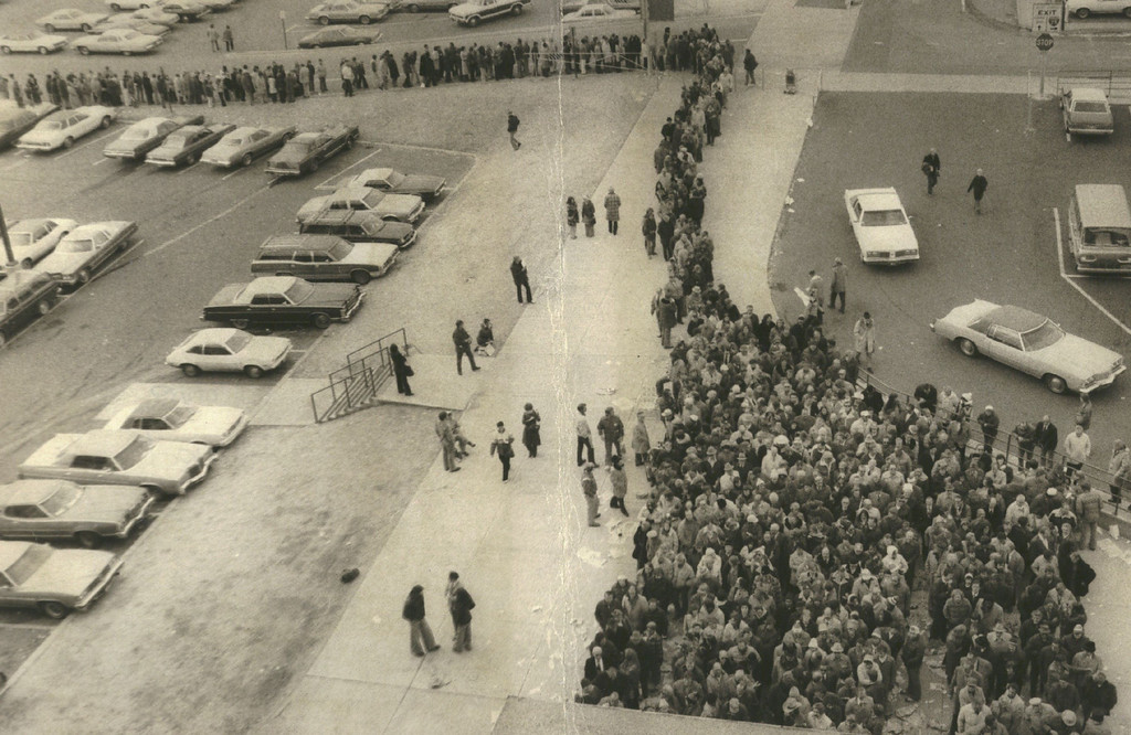 . JAN 4 1978 - A line of Denver Bronco Fans Stretches For Quarter-Mile Waiting For Super Bowl Tickets Fans began lining up Tuesday for the 10,410 tickets to the New Orleans game, even though the tickets will be distributed on a priority number basis and there was no need for the fans to line up. (Denver Post photo)