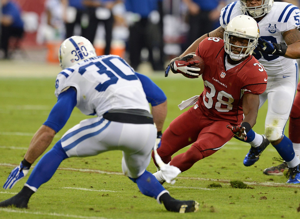 . Andre Ellington #38 of the Arizona Cardinals runs past Stepfan Taylor #30 of the Indianapolis Colts at University of Phoenix Stadium on November 24, 2013 in Glendale, Arizona.  (Photo by Norm Hall/Getty Images)