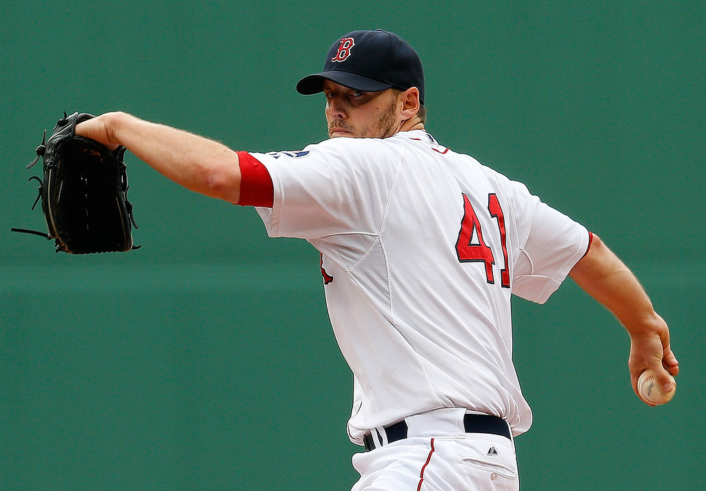 . John Lackey #41 of the Boston Red Sox throws against the Colorado Rockies at Fenway Park on June 26, 2013 in Boston, Massachusetts.  (Photo by Jim Rogash/Getty Images)