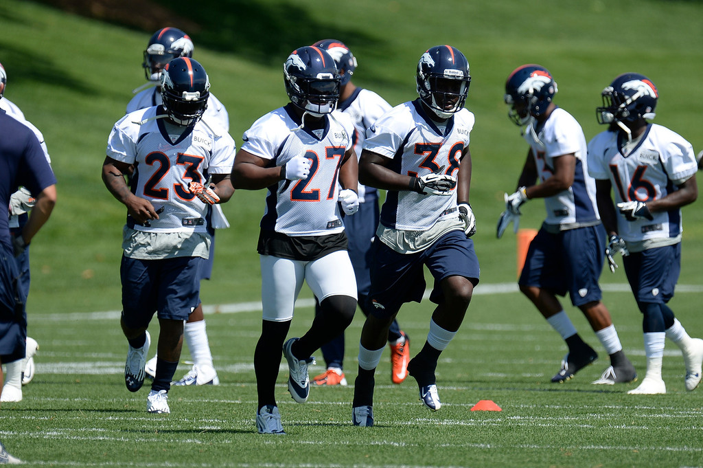 . Running backs Willis McGahee (23) Knowshon Moreno (27) Montee Ball (38) of the Denver Broncos head to drills mini camp June 11, 2013 at Dove Valley. (Photo By John Leyba/The Denver Post)