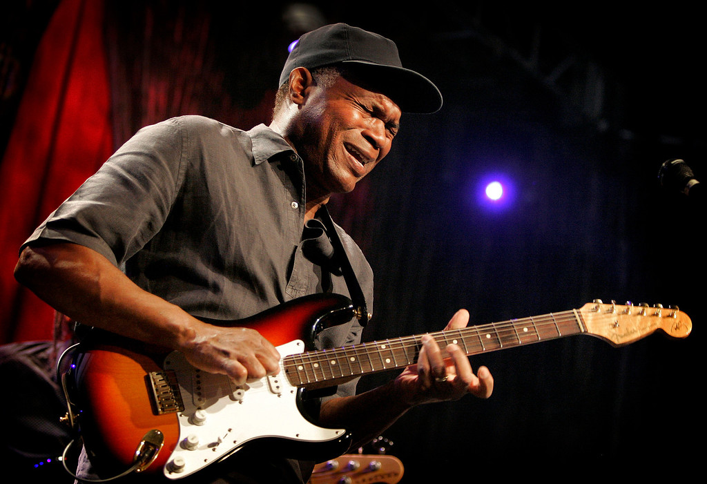 ". Blues icon Robert Cray performs with his signature Fender Stratocaster at a concert in Anaheim, Calif. on Saturday, Jan. 17, 2009. He says, ""I use the Stratocaster because it has the sound I\'m looking for and then some. It\'s surprising what sounds and tones comes out of the Stratocaster. It is such a simply built guitar, it\'s a workhorse.\"" (AP Photo/Matt York)"